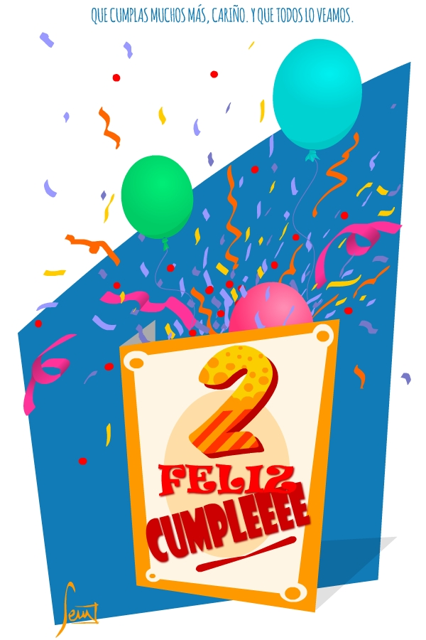 Tarjeta de felicitación de 2º cumpleaños.